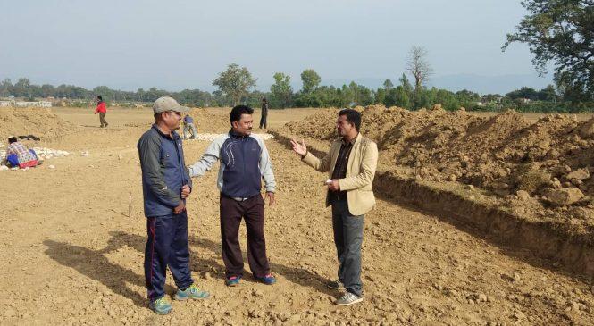 कोहलपुर क्रिकेट मैदानको निर्माण कार्य तीब्र