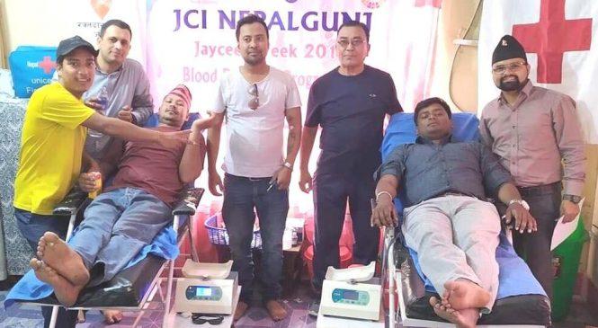 जेसीजको कार्यक्रममा ३० जनाद्वारा रक्तदान