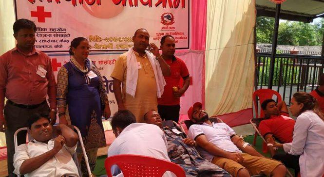 डुडुवामा बृहद् रक्तदान, ९६ जनाले दिए रगत