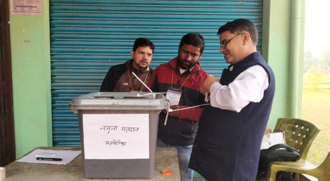 बाँकेमा गरियो नमुना मतदान