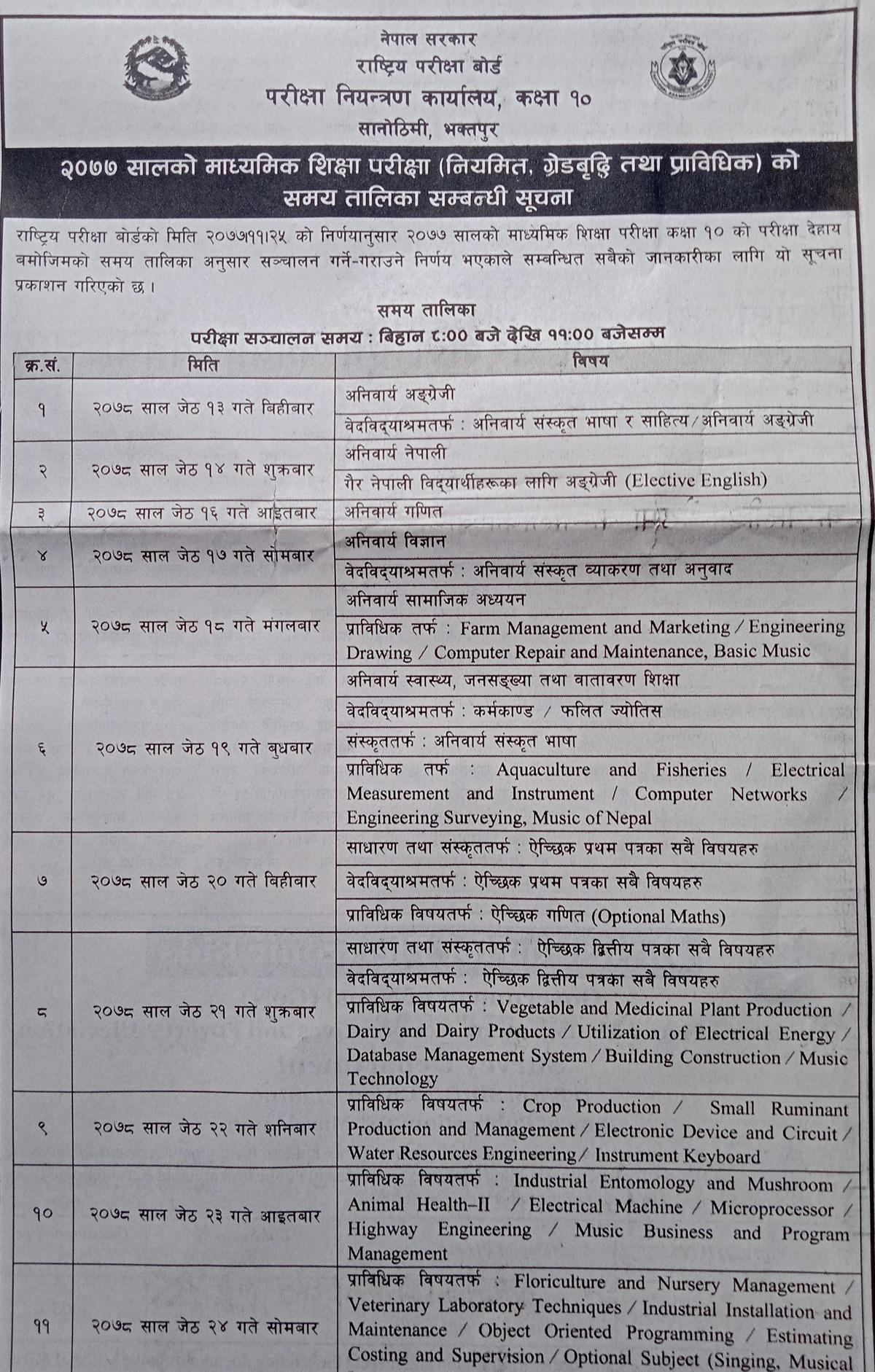 एसईई र कक्षा १२ को परीक्षा तालिका सार्वजनिक